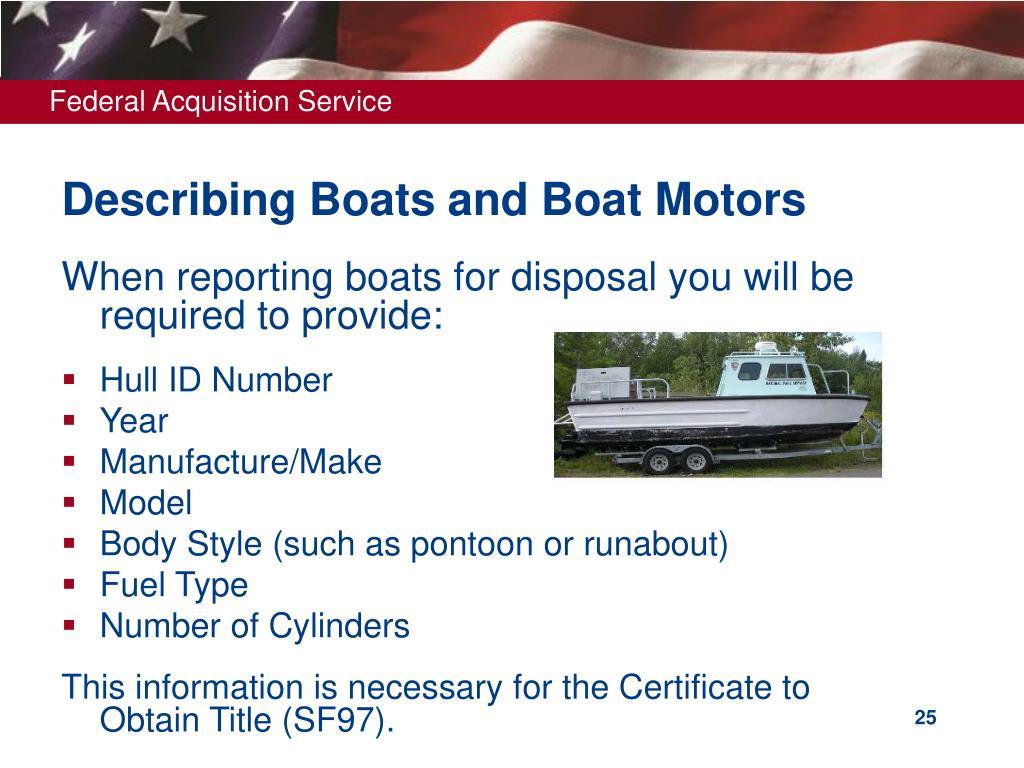 Describing Boats and Boat Motors