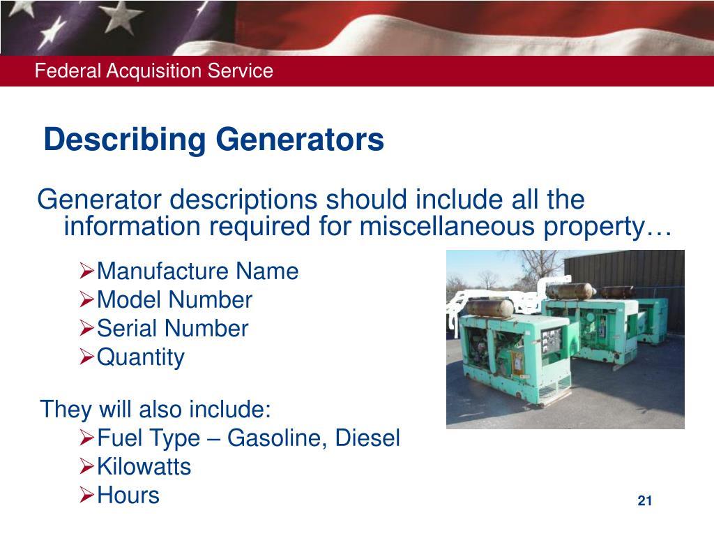 Describing Generators