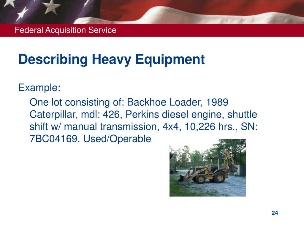 Describing Heavy Equipment