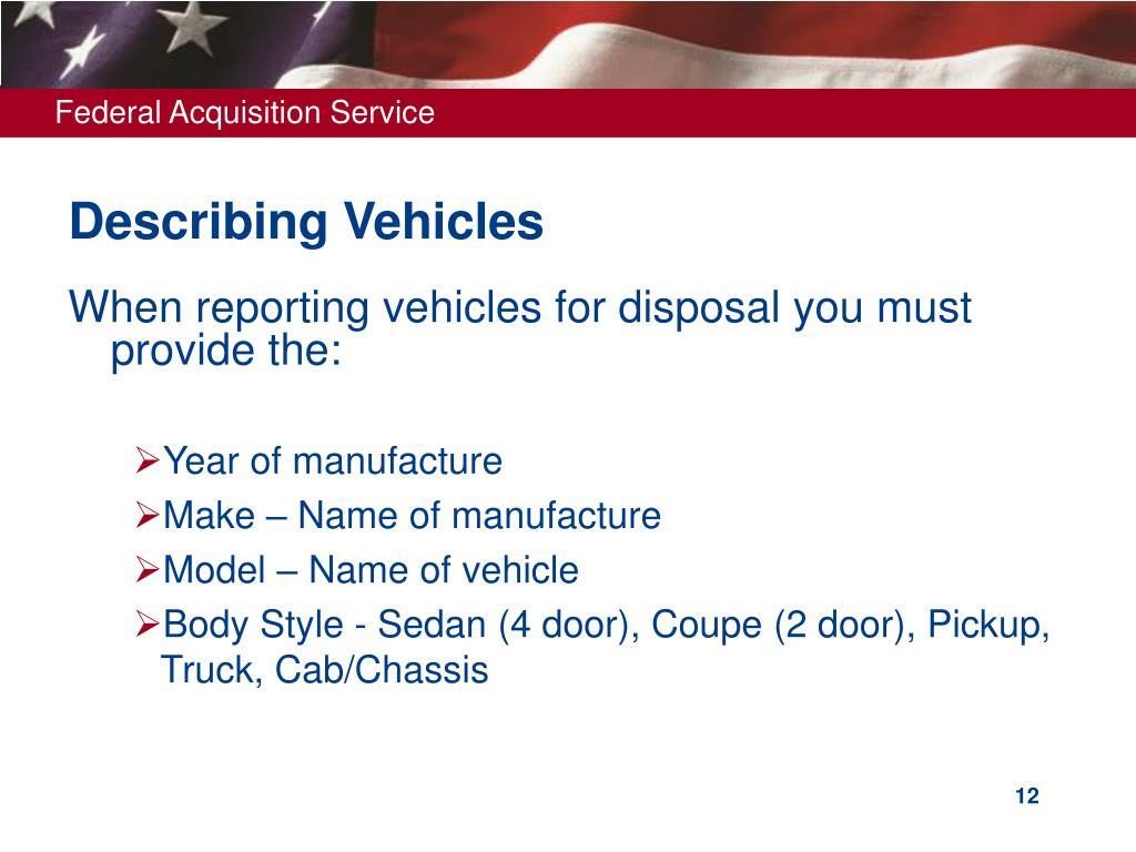 Describing Vehicles