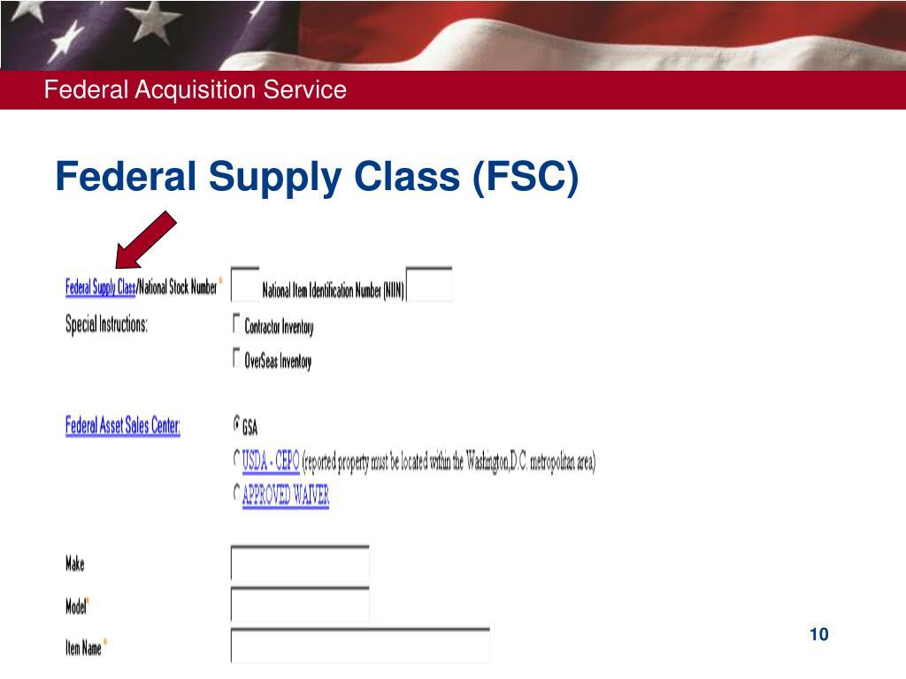 Federal Supply Class (FSC)