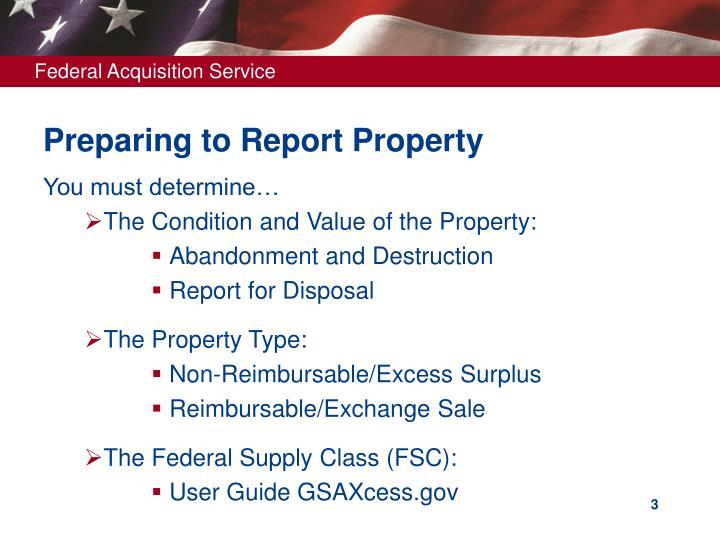Preparing to report property