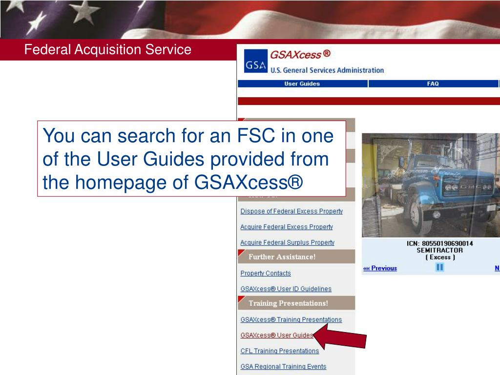 You can search for an FSC in one of the User Guides provided from the homepage of GSAXcess