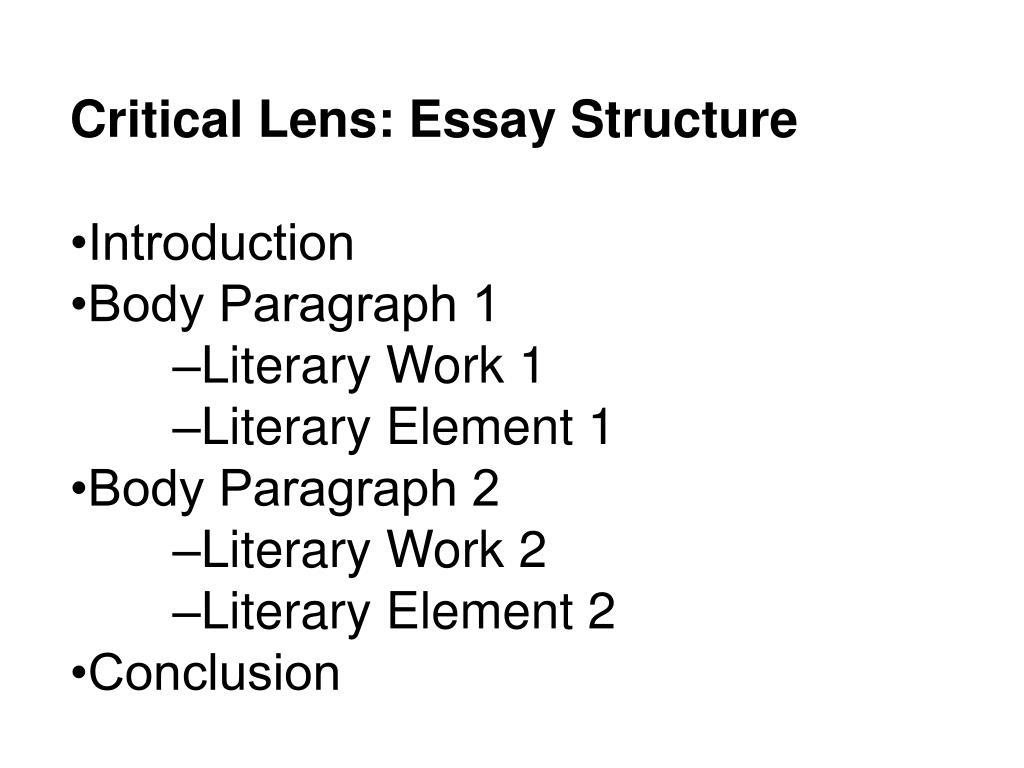 Critical Lens: Essay Structure