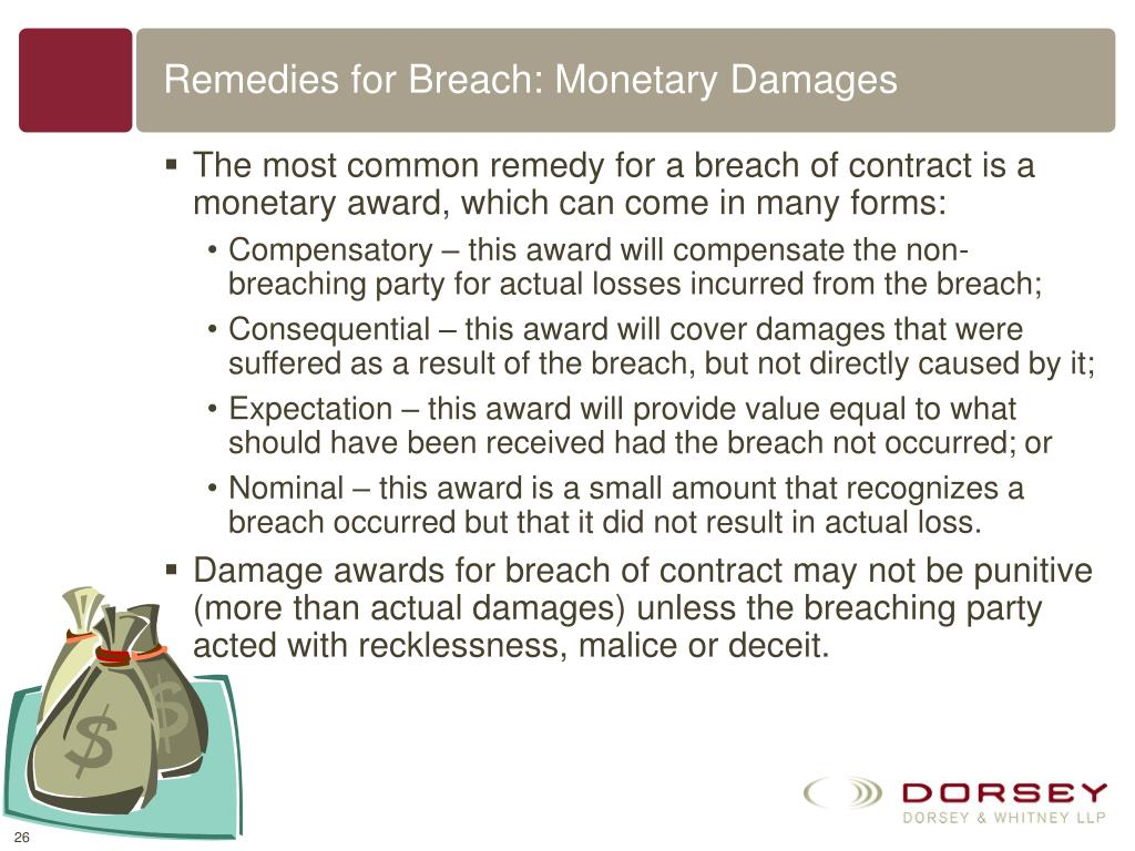 Remedies for Breach: Monetary Damages