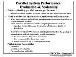 parallel system performance evaluation scalability