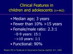 clinical features in children and adolescents n 462