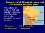 incidence of childhood adrenocortical carcinoma in southern brazil
