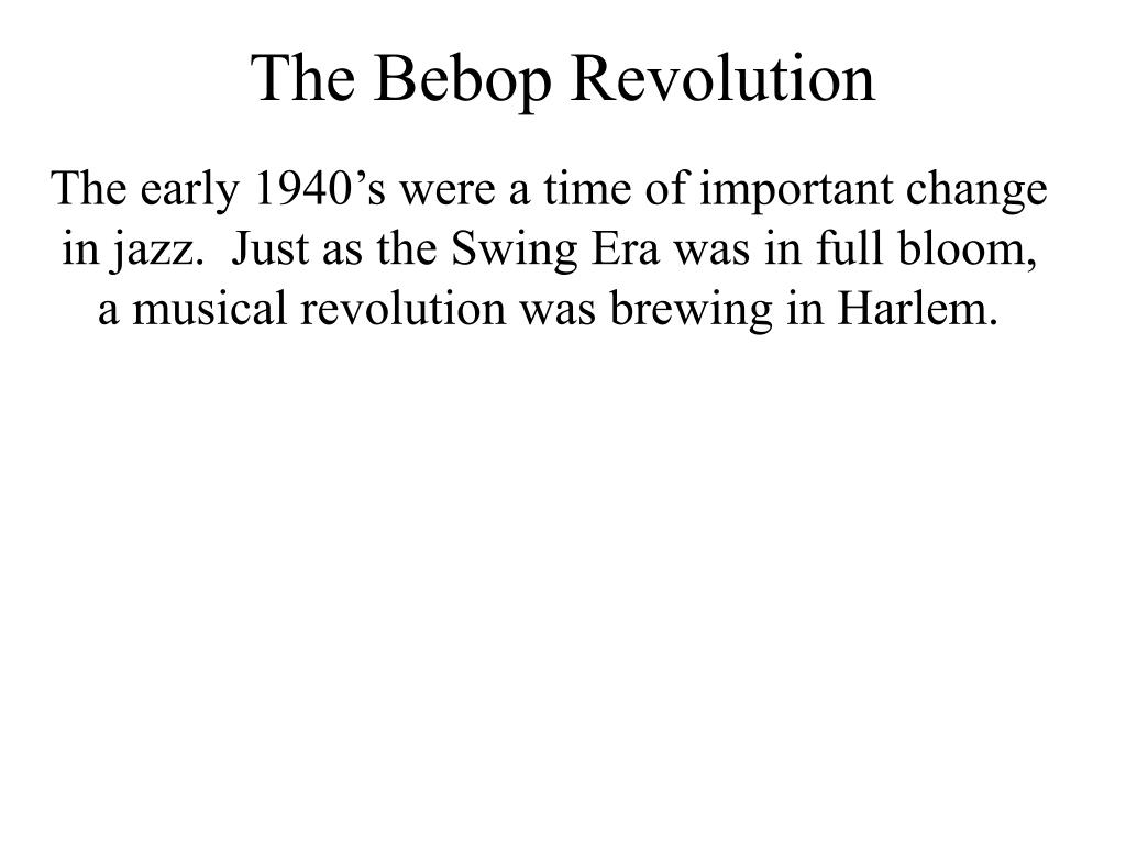jazz the bebop revolution