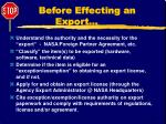 before effecting an export