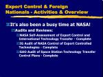 export control foreign nationals activities overview1