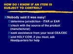 how do i know if an item is subject to control