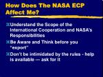 how does the nasa ecp affect me