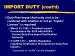import duty cont d