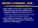 import licensing itar