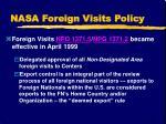 nasa foreign visits policy