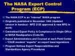 the nasa export control program ecp1
