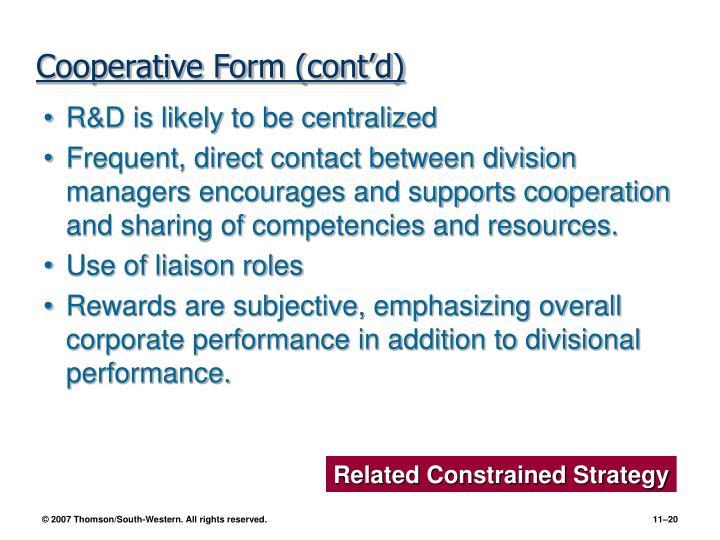 Cooperative Form (cont'd)