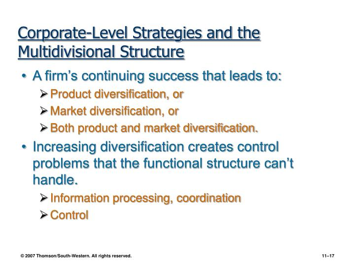 Corporate-Level Strategies and the Multidivisional Structure
