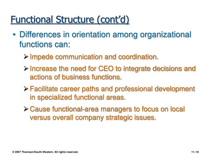 Functional Structure (cont'd)
