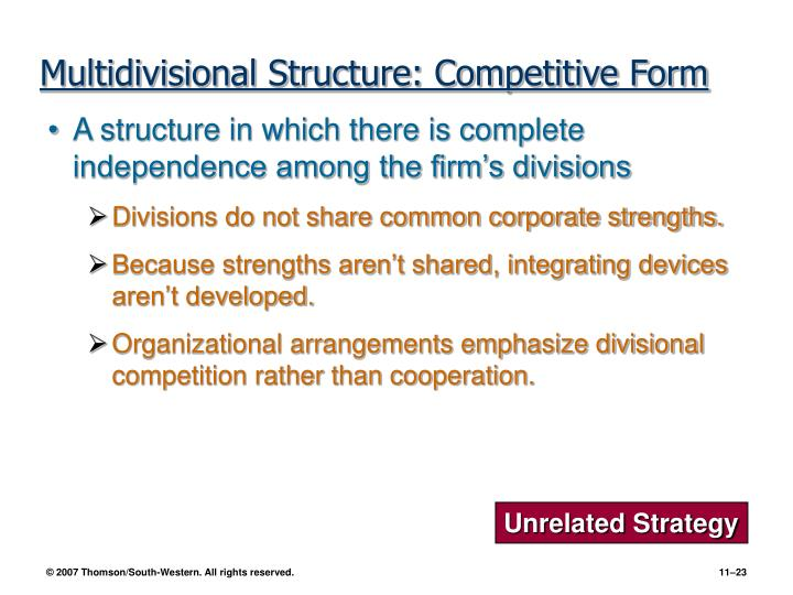 Multidivisional Structure: Competitive Form