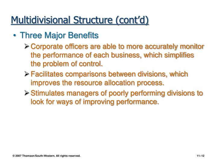 Multidivisional Structure (cont'd)