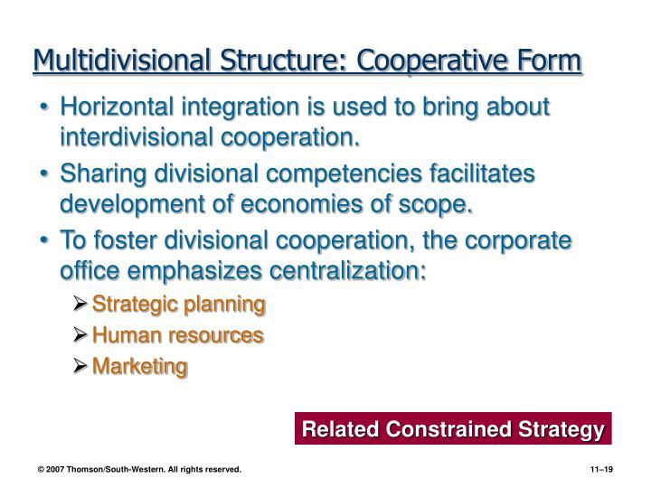 Multidivisional Structure: Cooperative Form