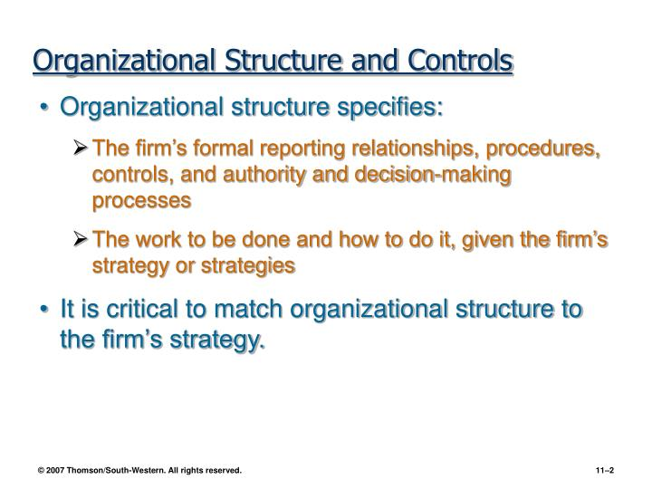 Organizational structure and controls