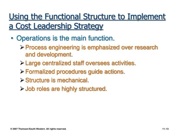 Using the Functional Structure to Implement