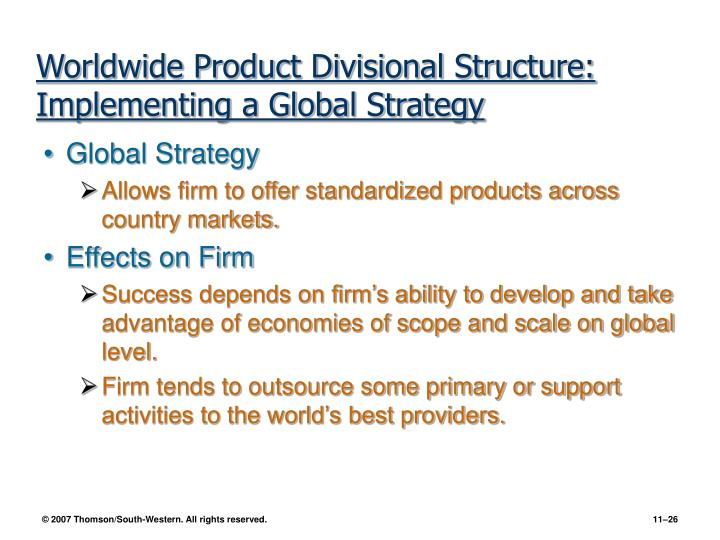 Worldwide Product Divisional Structure: Implementing a Global Strategy