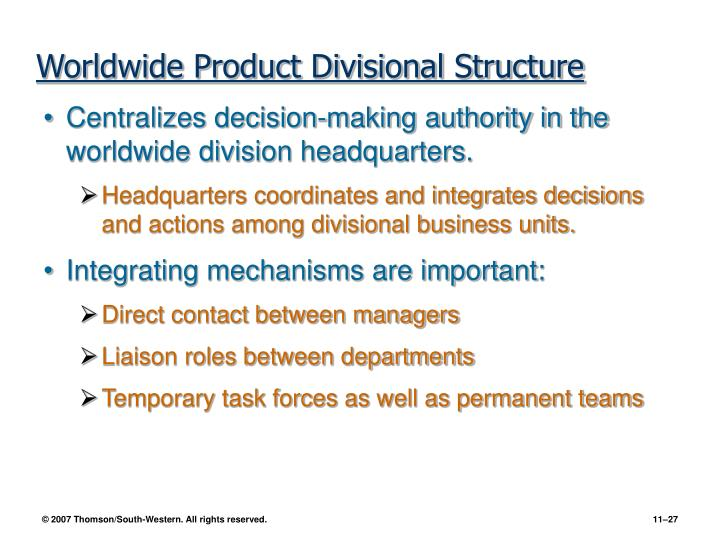 Worldwide Product Divisional Structure