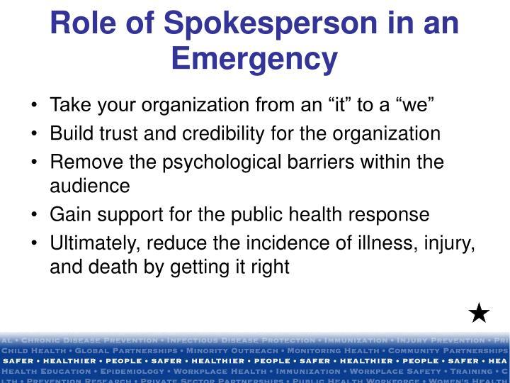 Role of Spokesperson in an Emergency