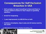 consequences for self exclusion breaches in usa