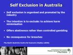 self exclusion in australia