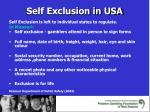 self exclusion in usa