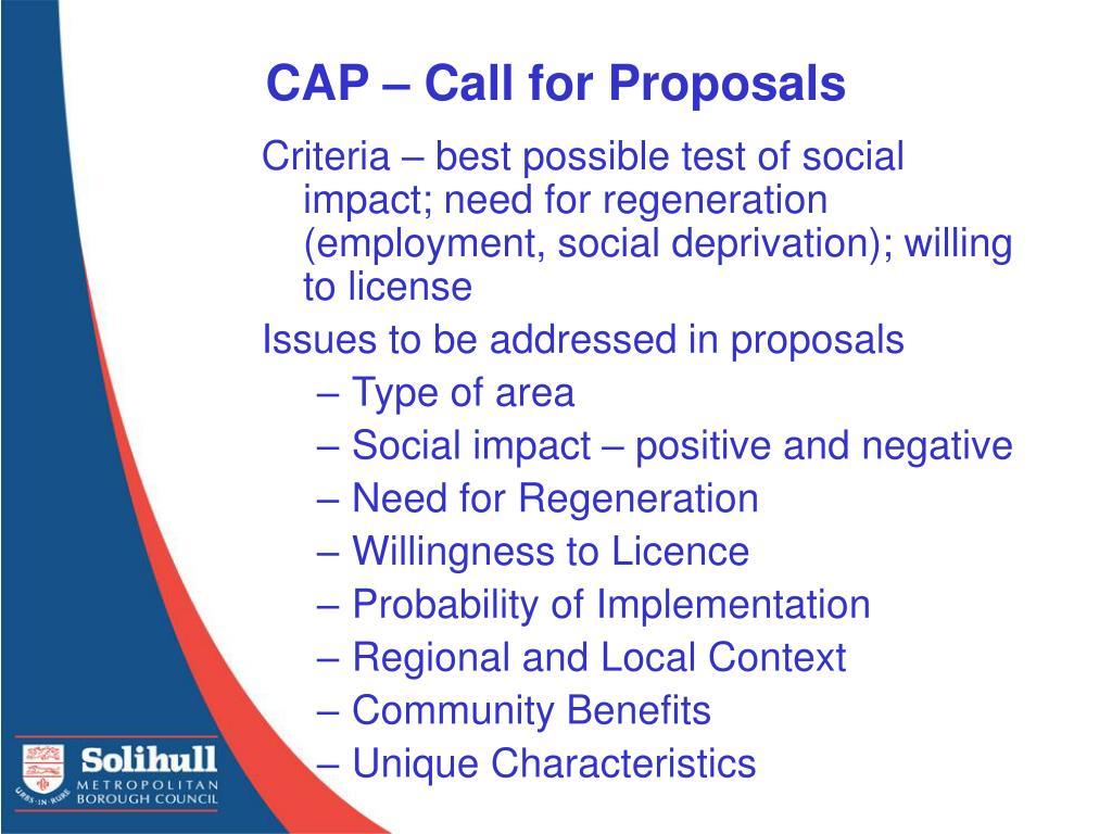 CAP – Call for Proposals