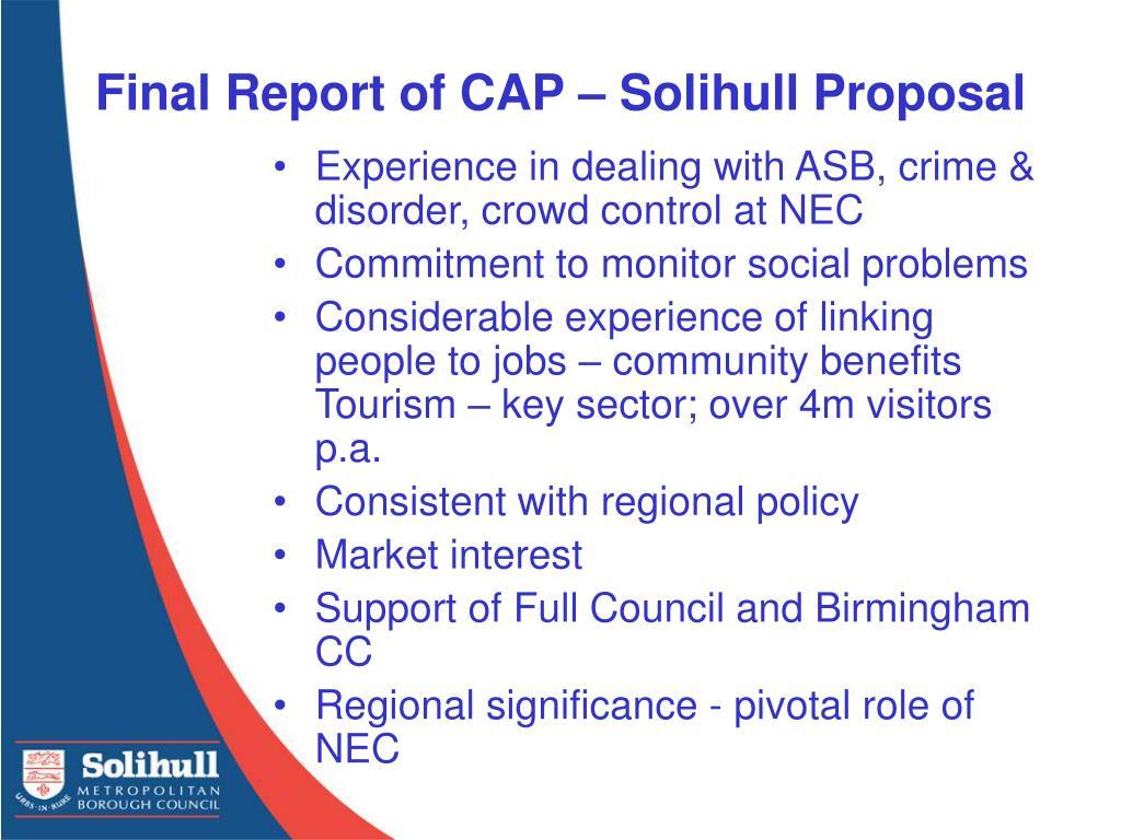 Final Report of CAP – Solihull Proposal