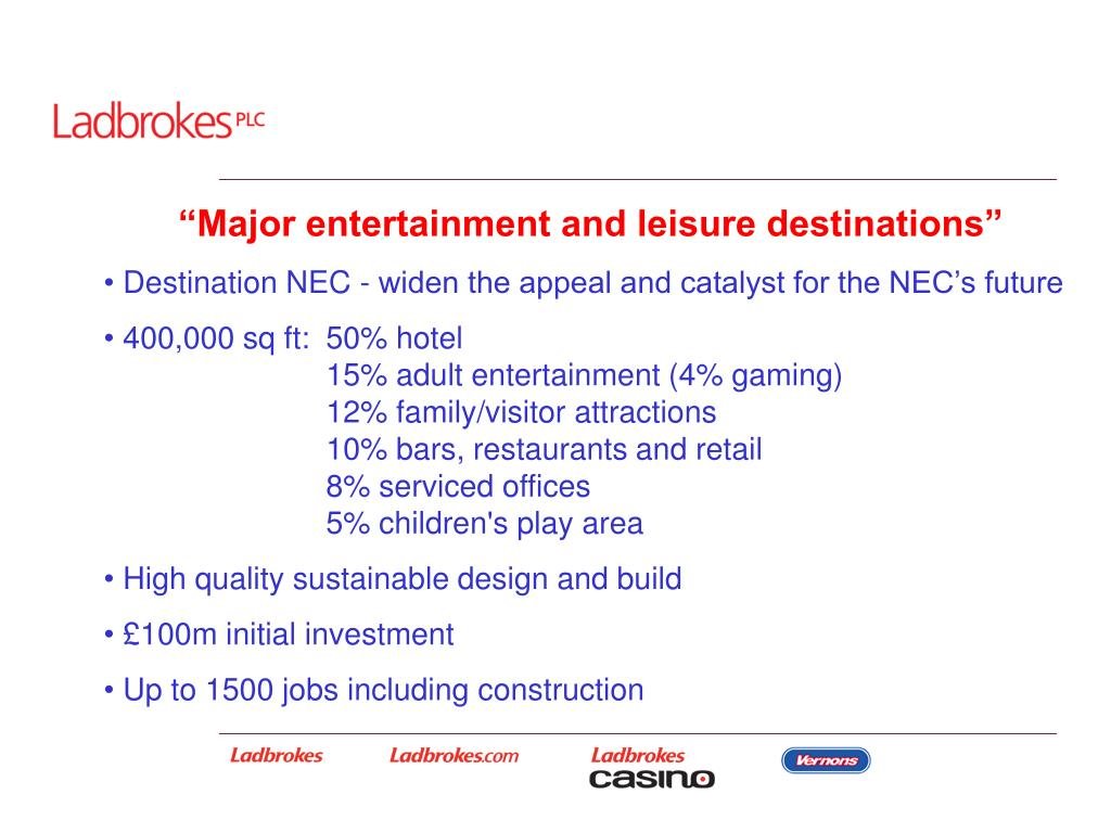 """Major entertainment and leisure destinations"""