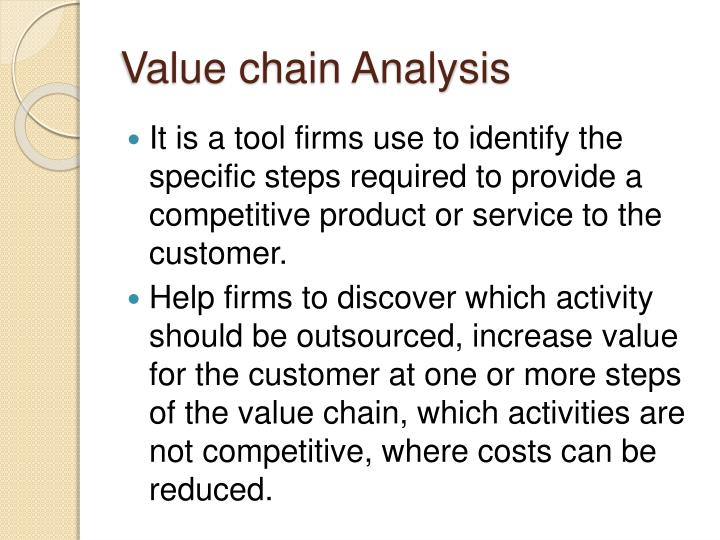 the value chain analysis sony 2 the value chain: adding value to the supply chain the contractor supply chain your company's performance depends on the companies that supply you, as well.