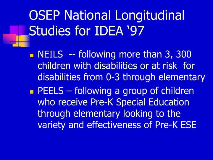 OSEP National Longitudinal Studies for IDEA '97