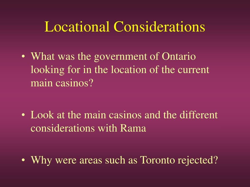 Locational Considerations