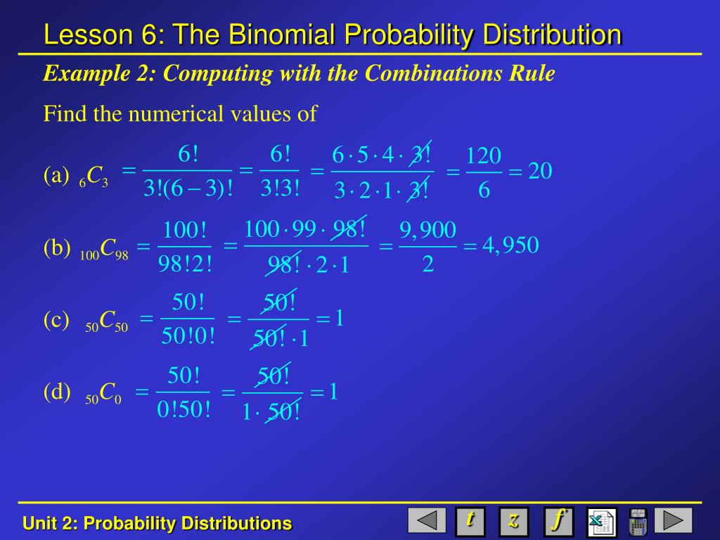 Example 2: Computing with the Combinations Rule