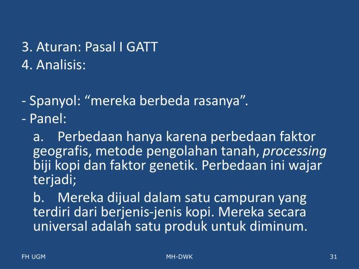 3. Aturan: Pasal I GATT