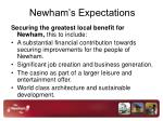 newham s expectations