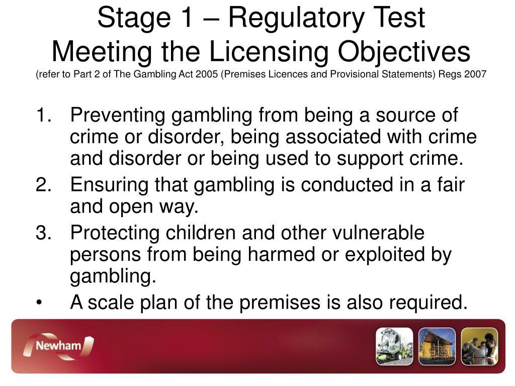 Stage 1 – Regulatory Test