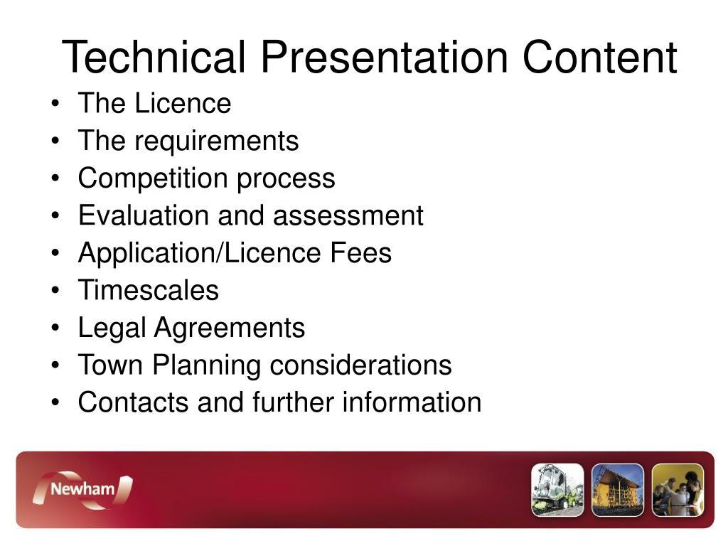 Technical Presentation Content