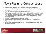 town planning considerations