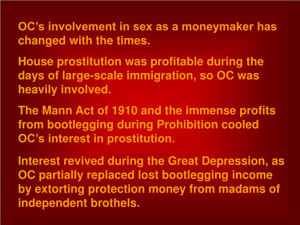 OC's involvement in sex as a moneymaker has changed with the times.