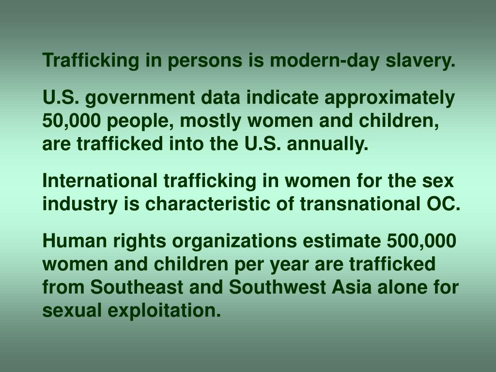 Trafficking in persons is modern-day slavery.