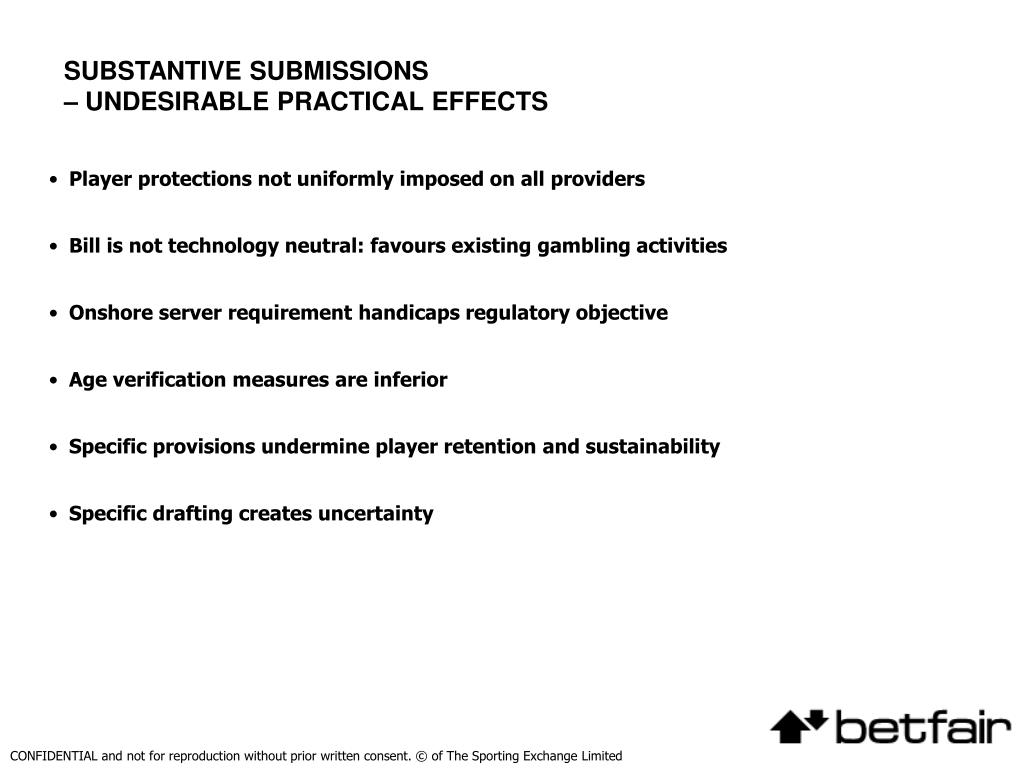 SUBSTANTIVE SUBMISSIONS